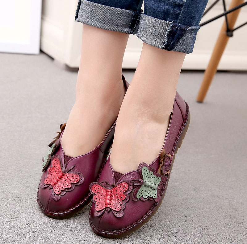 2017 New Women National Shallow Mouth Flat Shoes Ladies Vintage Floral Flats Mother Sapato Feminino Genuine Leather Shoes vintage embroidery women flats chinese floral canvas embroidered shoes national old beijing cloth single dance soft flats