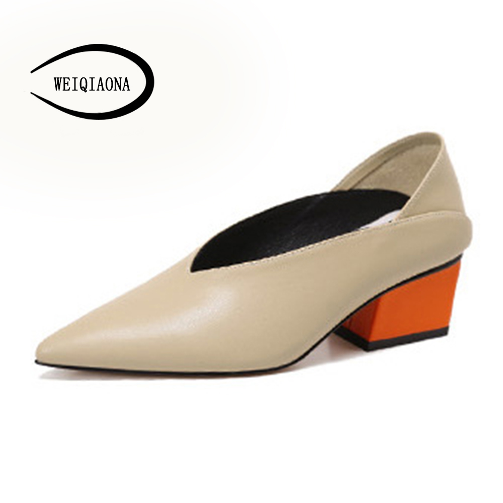 WEIQIAONA 2018 New Women for Shoes Casual Elegant Pumps Mules Mid Heels Pointed V-mouths Ladies Dress shoes OL Daily ShoesWEIQIAONA 2018 New Women for Shoes Casual Elegant Pumps Mules Mid Heels Pointed V-mouths Ladies Dress shoes OL Daily Shoes