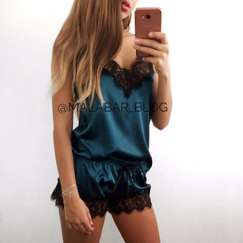 Women's Sleepwear Sexy Satin Pajama Set Black Lace V-Neck Pyjamas Sleeveless Cute Cami Top and Shorts 3