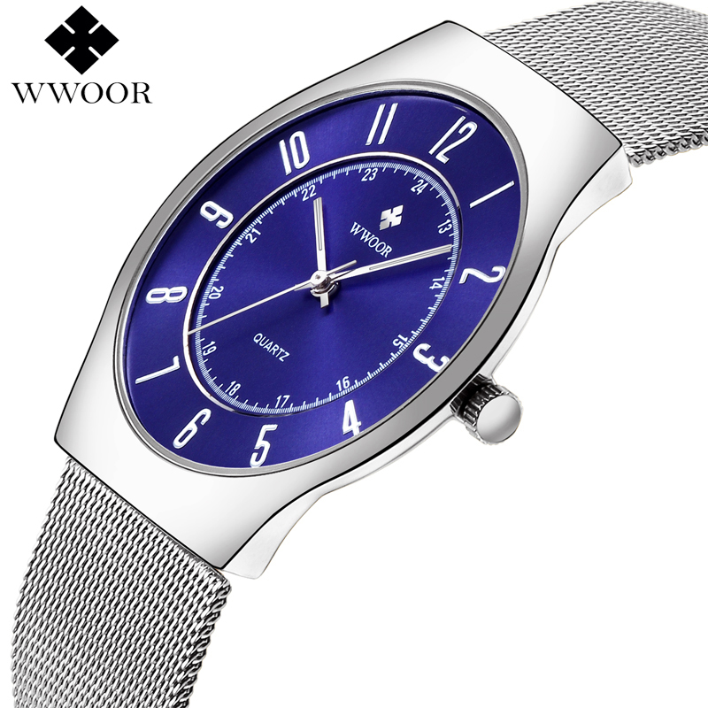 WWOOR Brand Luxury Ultra Thin Simple Men Waterproof Watches Men's Quartz Sports Wrist Watch Male Silver Clock relogio masculino wwoor waterproof ultra thin date clock male stainess steel strap casual quartz watch men wrist sport watch 3 colors