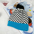 100% Brand New High-Quality Striped Knitted Hats For Children Warm Caps Outdoor Casual Skullies Beanies White And Black  WB015