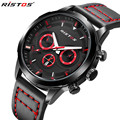 RISTOS Sport Watch Men Brand Luxury Waterproof Leather Strap Army Military Wrist Watch Clock Male Quartz Watch Relogio Masculino