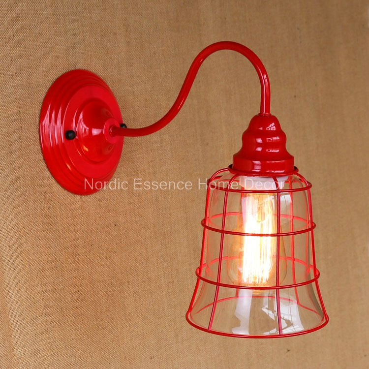 Nordic LOFT creative American country living room dining hallway decorated glass hob red retro Iron Wall sconce free shipping