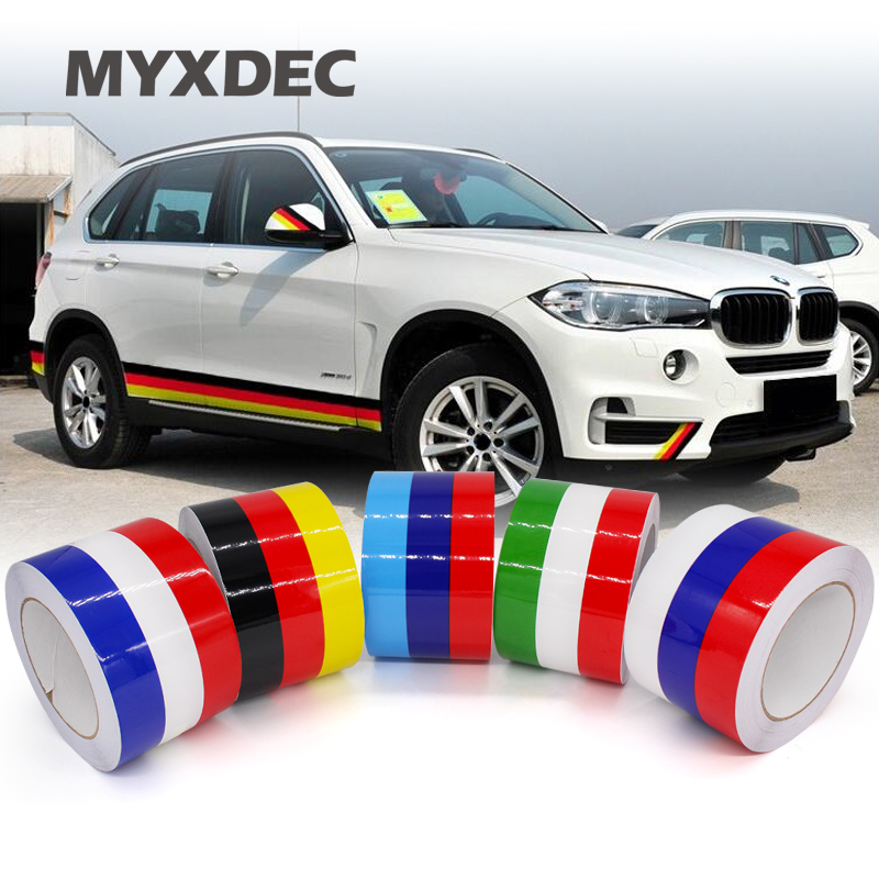 3 Meters 3 Colors Car Tail Waterproof PVC Sticker Badge Motorcycle Decoration Film Car Styling German France Italy Flag For BMW