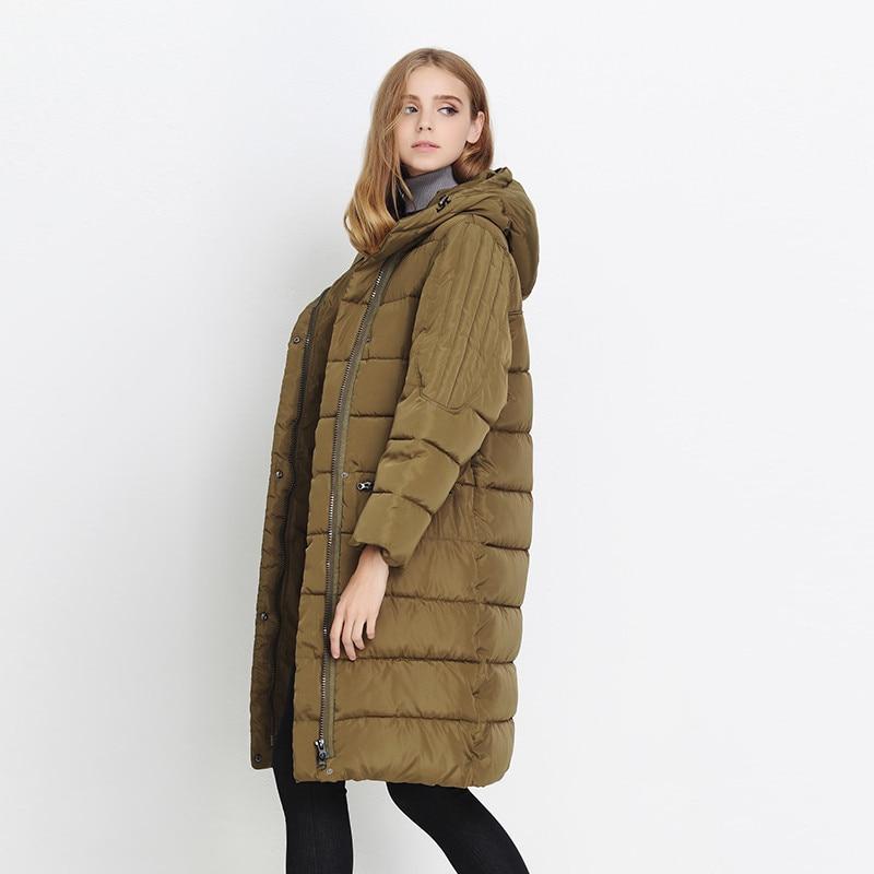 Korean Women Down & Parkas Jacket 2017 Winter Loose Plus Size Thick Hooded  Padded Jacket Coat Female Slim Knee Long Cotton Coat