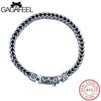 GAGAFEEL Male Bracelet 925 Sterling Silver Bangles Men Jewelry Thai Silver Rope Chain 18 21CM Fine