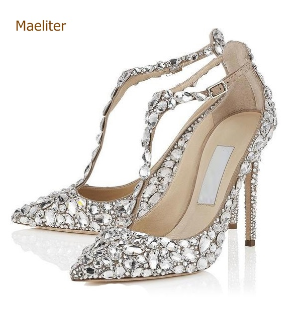 Bling Bling Crystal Women Wedding Shoes Pointed Toe Super Stiletto High Heel Sandals T-tied Cover Heel Buckle Strap Pumps цена 2017