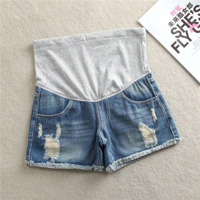2016 de Verano de Mezclilla Pantalones Cortos Para Mujeres Embarazadas Ropa de Maternidad Embarazo Ropa de Algodón Corto Del Vientre Flaco Jeans Pantalones Gravida