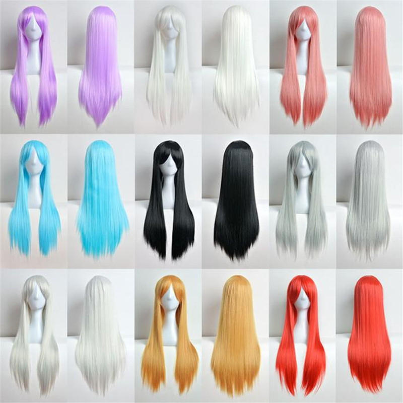 80cm Full long wigs for women Long Straight Wig Cosplay Party Costume Hair wigs front la ...