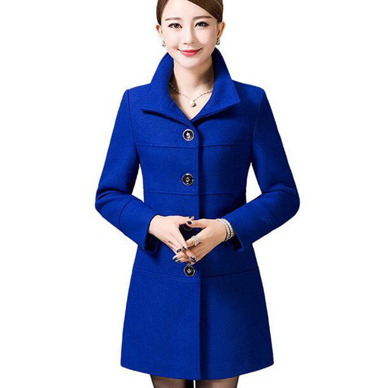 Middle Aged Women Wool Coat Nice Autumn Winter Mother Fashion Slim Long Sleeves Wool Coat High Quality Solid Color Coat LU211 - 4