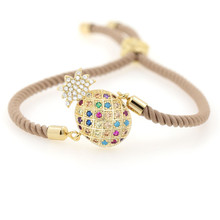 2019 Trendy Gold Fruit Pineapple plated Bracelet Adjustable Charm Rope environmentally copper bracelet fashion womens bracelets