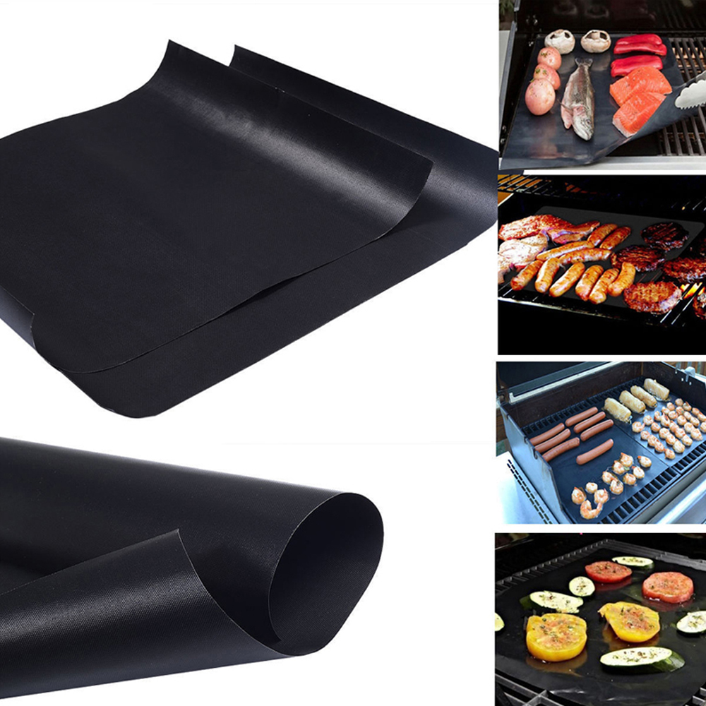 40pcs/lot 0.2mm Thick BBQ Grill Mat Non stick teflon BBQ Cooking Baking Sheet Reusable Barbecue Grilling Liner mat