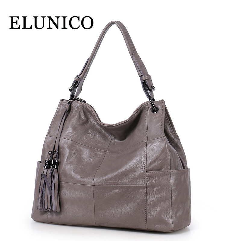ELUNICO 2018 New Tassel Shoulder Bags Handbags Women Famous Brands Casual Genuine Leather Tote Bag Large Capacity Messenger Bags elunico 2018 new large capacity cowhide tote bags handbags women famous brands genuine leather messenger shoulder bag sac a main