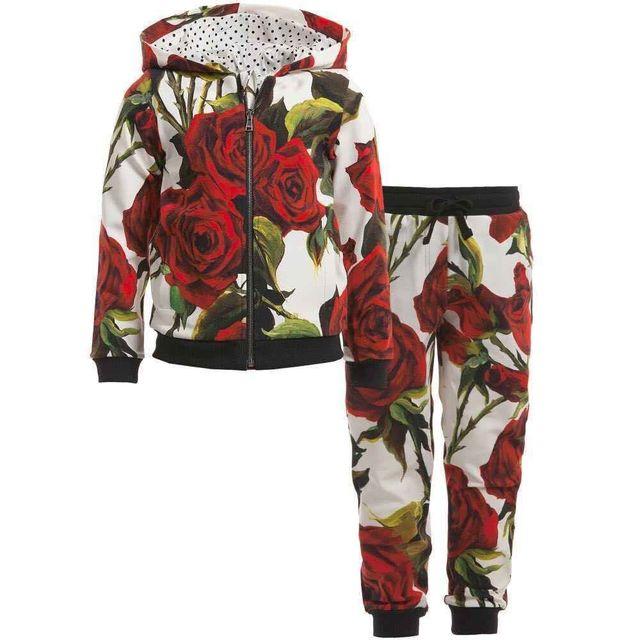 Осень Зима Мода Девушки Цветок Одежда наборы для Детей Девушки Спортивные Костюмы Повседневная Одежда набор для девочек