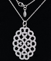 Compatible With Europe Jewelry Necklaces 100 925 Sterling Silver Pendant Shimmering Lace Clear CZ DIY Charms
