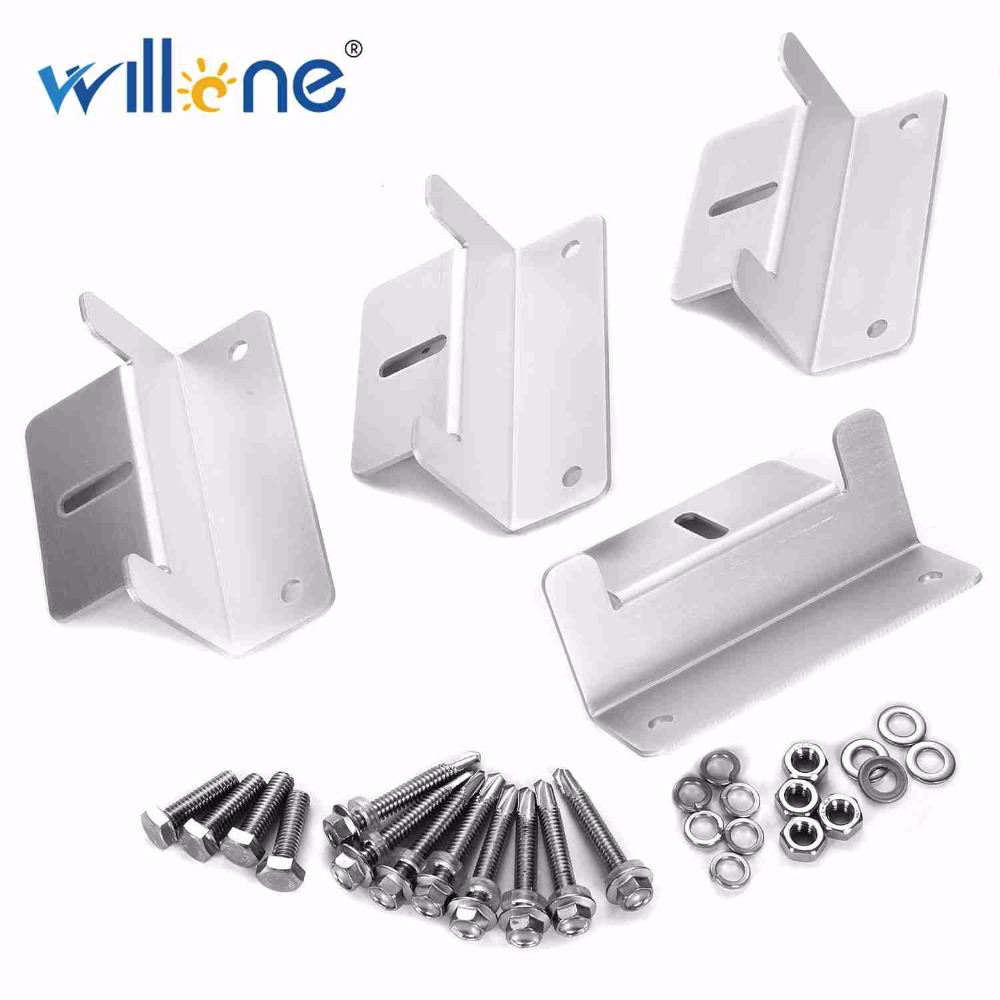 Willone Free Shipping 1 Set 4x Metal Solar Panel Mounting Bracket Set Z-shaped Aluminum Roof Bracket Carvan