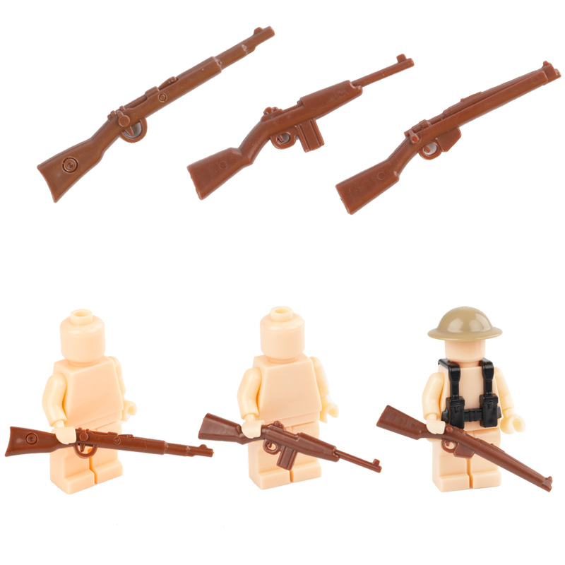 US $3 05 10% OFF|WW2 MOC British German Army Soldier Figures Building  Blocks Guns Weapons America Military Accessories Firearms Compatible  C063-in