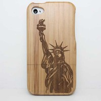 For Apple Iphone 4 Case Tree Pattern Laser Pattern Wood Phone CaseWooden Hard Shell Cover For