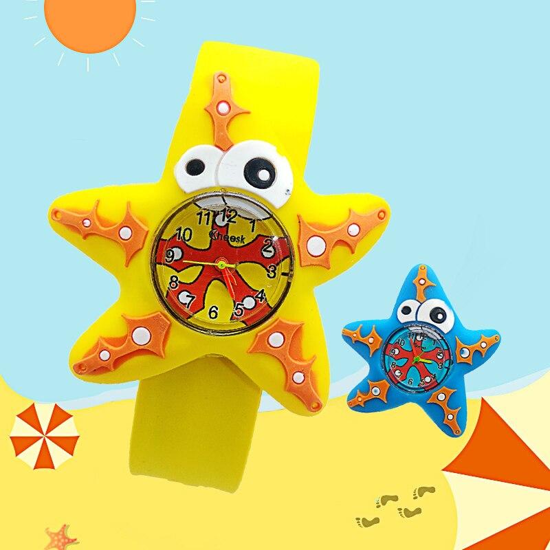 Slap Ring Kids Watches 3D Flower Five-pointed Starfish Baby Toy Children Watch Girls Boys Clock Pineapple Quartz Wristwatches