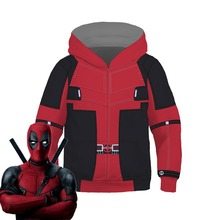Kids Deadpool Movie Anime Costume Hoodie Cosplay Sweatshirt Jacket Coats