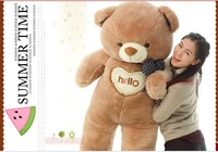 The lovely bow Teddy bear doll heart hello bear plush toy doll birthday gift brown about 150cm