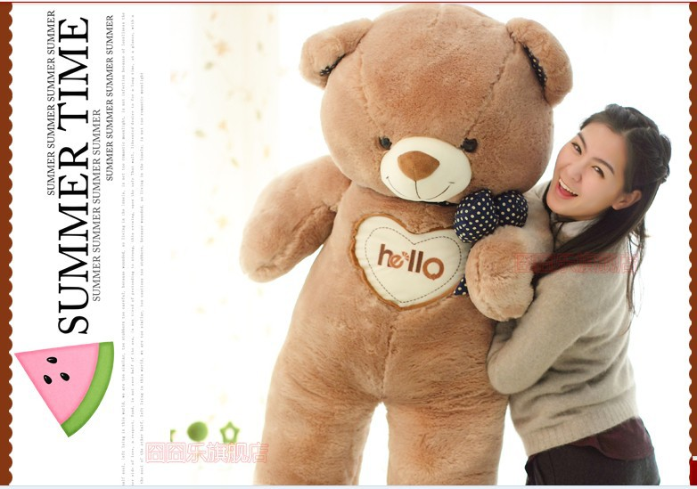 The lovely bow Teddy bear doll heart hello bear plush toy doll birthday gift brown about