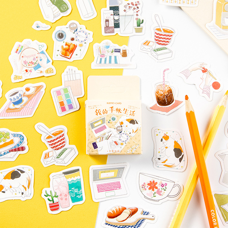 46 Pcs My Leisure Life Decoration Adhesive Stickers DIY Cartoon Stickers Diary Sticker Scrapbook Kawaii Stationery Stickers