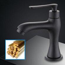 G1/2 European Style Brass Kitchen Sink Faucet Single Handle Single Cold Washbasin Tap Black Baking Varnish Art Bibcock