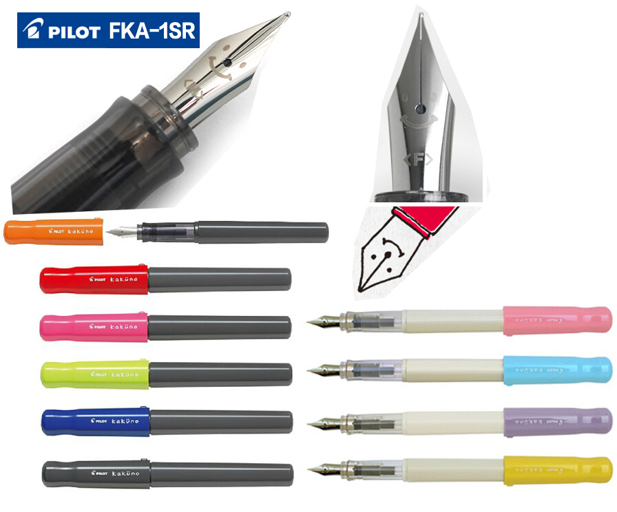 Fountain pen F / M  Nib JAPAN PILOT FKA-1SR  FREE  6PCS  BLUE INK CARTRIDGE  Free Shipping great calligraphy helper pilot parallel pen plate nib 2 ink cartridge 1 5 2 4 3 8 6 0mm flat tip fountain pen art set