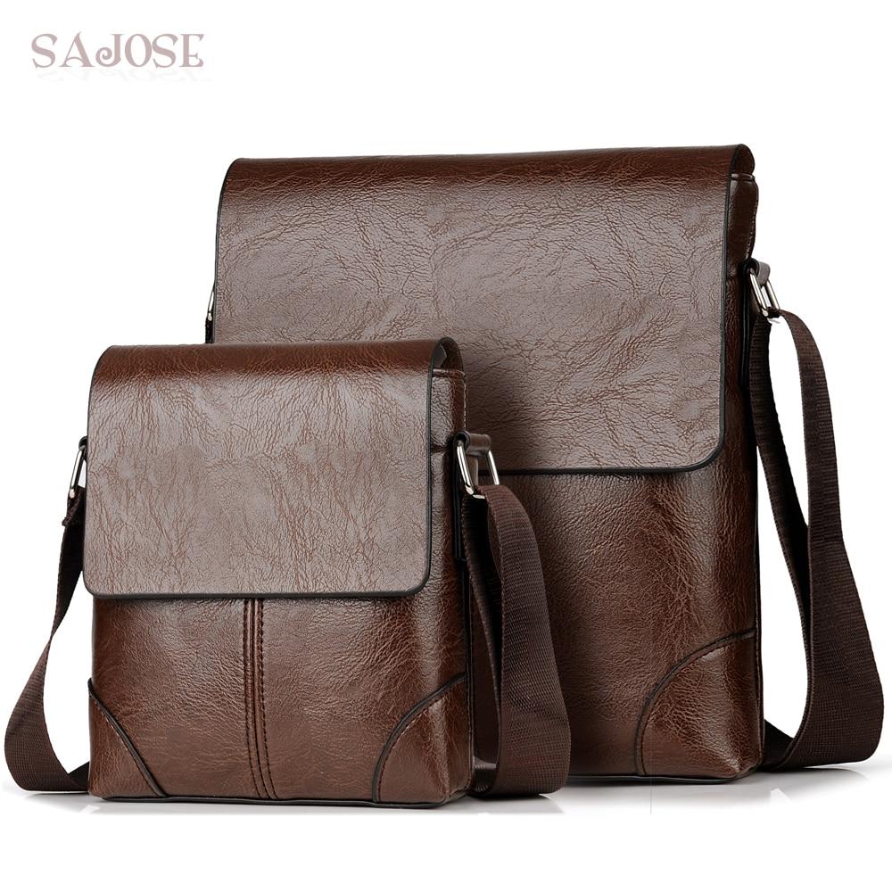 Crossbody Bags For Men's PU Leather Shoulder Bag Casual Vintage 2 Sets Fashion Business High Quality HandBags Men Messenger Bags