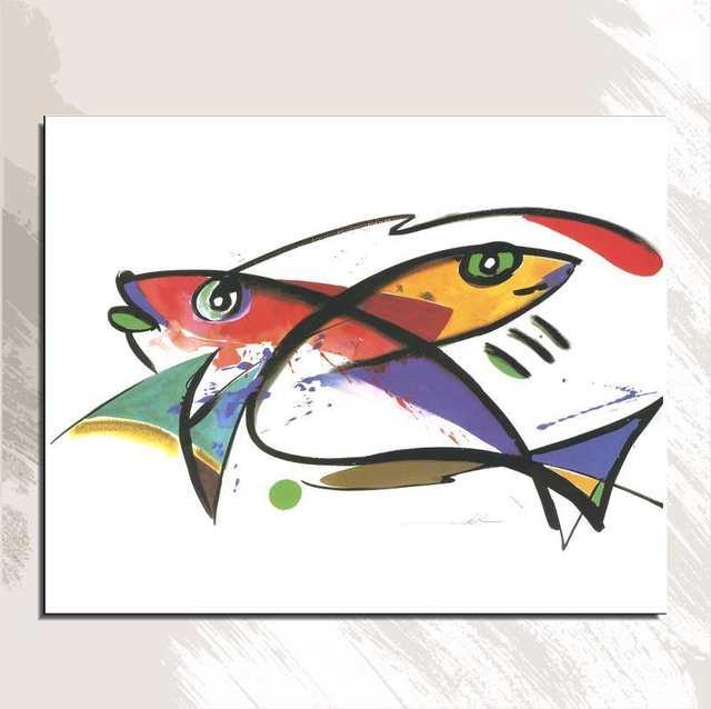 Dois Peixes Animal Frameless Desenho Realista Da Pintura A Oleo