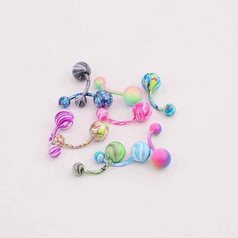 Sellsets 1 חתיכה לב & מעגל צורת נירוסטה ציפוי גוף פירסינג תכשיטי חדש אופנה טבור פירסינג טבור טבעות