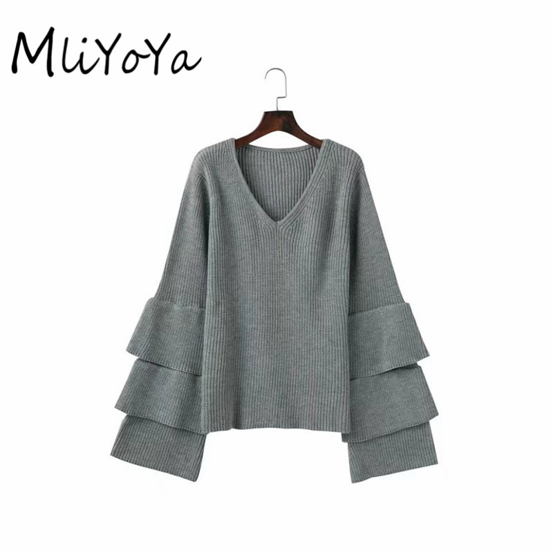 Mliyoya Store MLIYOYA Fashion Autumn Long Sleeve Women Sweaters Patchwork Flare Sleeve V Neck ladies Pullover Knitted Tops Sweater