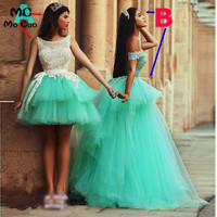 Don's Bridal 2018 Mint Green Prom Dresses with Detachable Tulle Skirt Lace Sleeveless Scalloped Evening Dress Girls Gowns