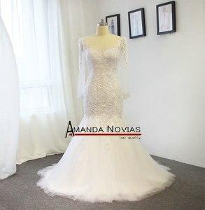 Image 2 - Amanda Novias Real Photos 100% Mermaid Lace Wedding Dress With Detachable Train