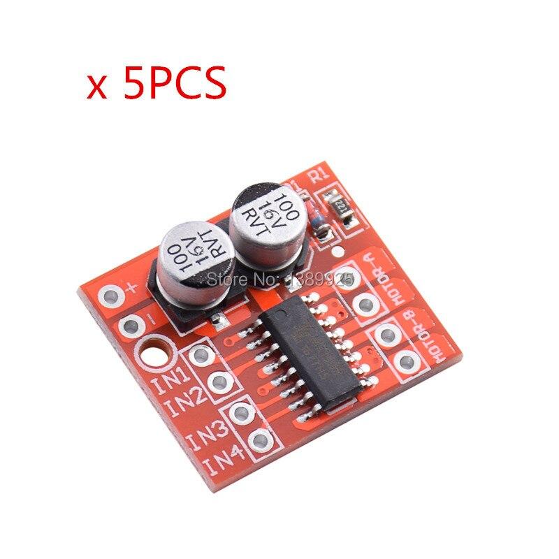 5PCS 2 CHANNEL DC Motor Drive Module Positive Inversion PWM Speed Adjustment Double H Bridge Mini Stepper Motor Victory L298N