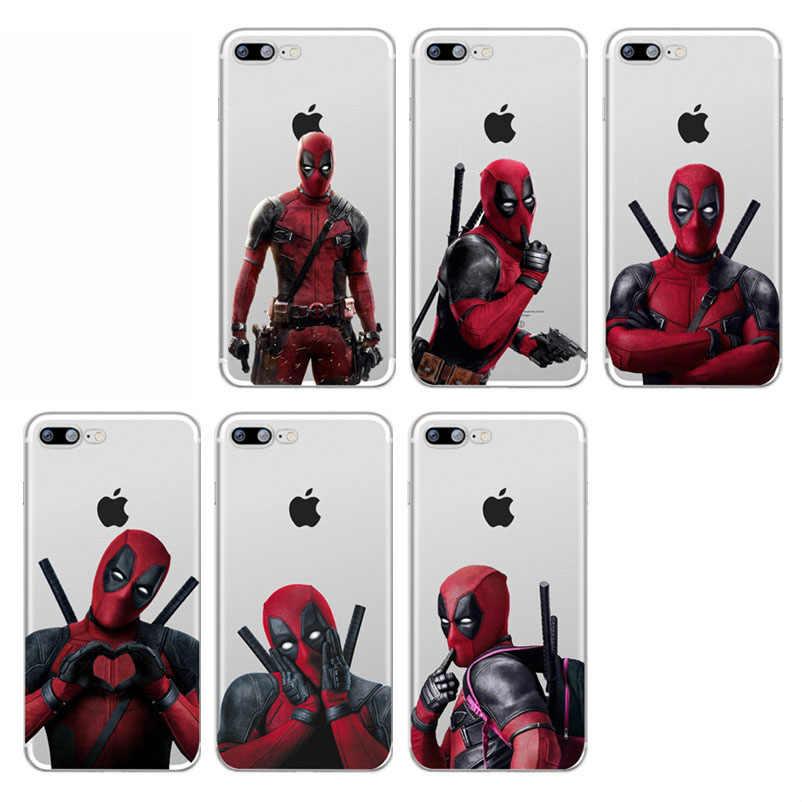 Super Cool Marvel Deadpool Super héroe de silicona suave del teléfono del TPU del caso funda para iPhone 8 8Plus 7 7Plus 6 6S 6Plus X Xs X Max Xr Coque