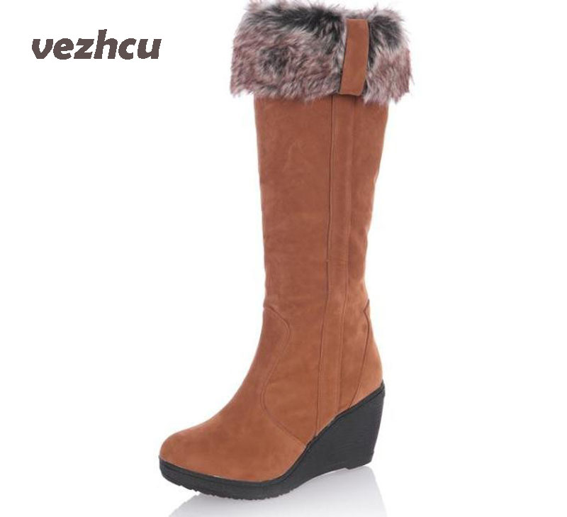 VZEHCU New Women boots winter heels knee high boots warm cotton padded shoes women high wedges suede leather snow boots ba45 winter warm snow boots cotton shoes flat heels knee high boots women boots wholesale high quality