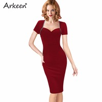 Arkeen Elegant 2017 Ceremony Square Sailor Bodycon Dress Sexy American Apparel Green Pencil Party Kleider Office