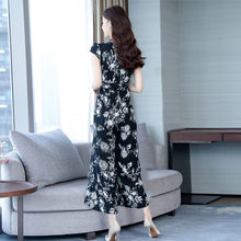 Even Clothes Wide Leg Pants Women Summer 2019 New Medium Long Slim Female Chiffon Jumpsuit Large Size Simple Lady Jumpsuit Qw092(China)