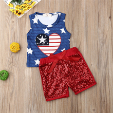 Cute Newborn Baby Girls Clothing Set Sleeveless Vest Crop Tops Sequins Shorts Pants Outfits Clothes Newborn Girls Clothing Sets newborn baby girl clothes sleeveless tops shorts 2pcs outfits set 0 18m girls rompers clothing