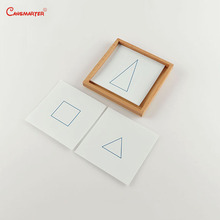 Geometric Sensory Cards with Tray Wood Montessori Teaching Toys Card Paper 4 Old Game Material Preschool Educational Toy SE012-3 цена в Москве и Питере