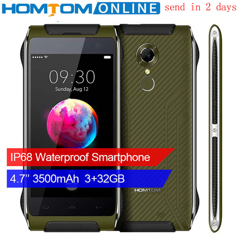 HOMTOM Smartphone HT20 PRO IP68 Wasserdicht MTK6753 3G RAM 32G ROM Octa-core Telefon 8.0MP 4,7 Zoll 4G Zurück Fingerprint ID FDD-LTE