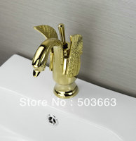 2013 Design Deck Mounted Golden Polish Finish Mixer Waterfall Faucet Bathroom Sink Tap Basin Faucet Vanity