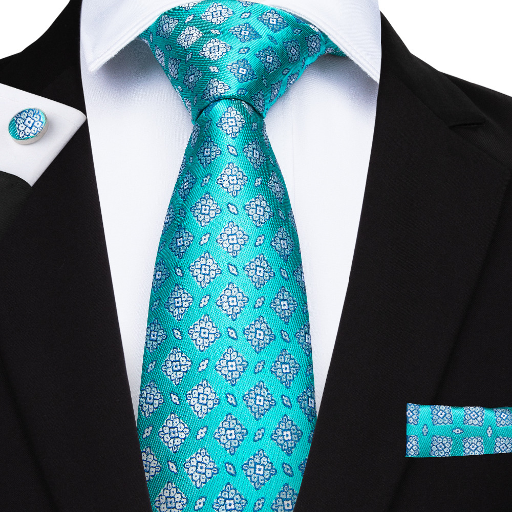 MJ-7165 DiBanGu Turquoise Novelty Men's Tie With Hanky Cufflinks Set Neck Ties Set For Men Wedding Party Cravatte Gravatas