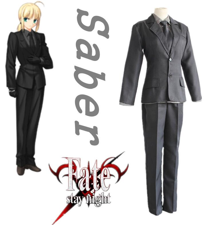 Fate / Stay Night Saber Lily Cosplay Costumes Fate Zero Arturia Pendragon Full Set Black Suits ( Jacket + Shirt + Pants + Tie )
