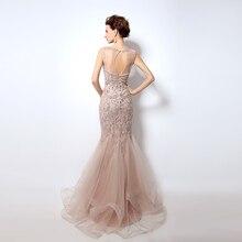 Luxury Rhinestone Mermaid Dubai Long Evening Dresses New Blush Crystal Beading Pearl Sheer Prom Dresses Robe De Soiree LSX006