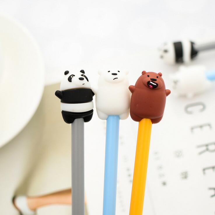 1 Piece Lytwtw's Stationery Cute Cartoon Animals Pen Gel Pen School Office Kawaii Supply Panda Bear Handles Creative Gift Pretty And Colorful