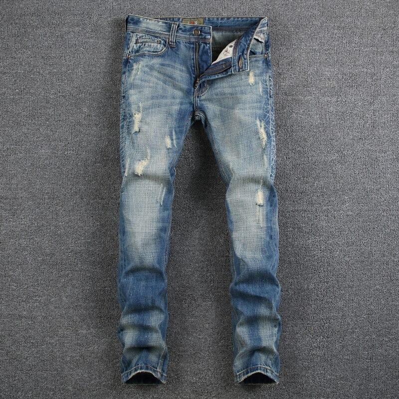 Spring Summer Style Men`s blue Jeans Denim Slim Fit Pants Brand Skinny Ripped Jeans Men High Quality Mid Stripe Punk Jeans RL629