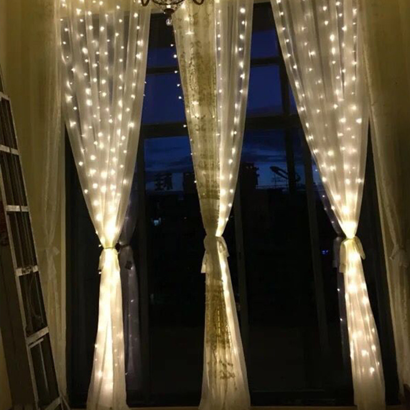 3M*3M LED Waterproof Curtain Lights Window Decoration Waterfall Fairy String Lights For Christmas New Year Wedding Decor EU Plug